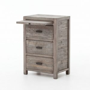 Hilton Head Furniture - John Kilmer Fine Interiors   Caminito Grey Reclaimed Wood 3 Drawers Bedside Cabinet With Coffee Slide 1