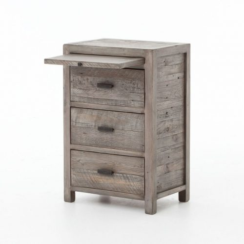 Hilton Head Furniture - John Kilmer Fine Interiors   Caminito Grey Reclaimed Wood 3 Drawers Bedside Cabinet With Coffee Slide 1 Caminito Grey Reclaimed Wood 3 Drawers Bedside Cabinet With Coffee Slide 1