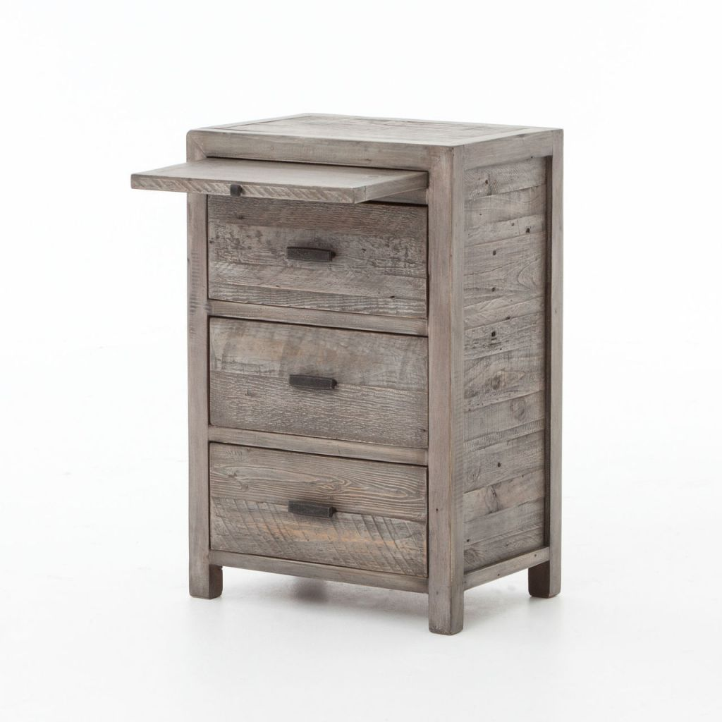 White Reclaimed Wood Coffee Table With Drawers: Caminito Grey Reclaimed Wood 3 Drawers Bedside Cabinet