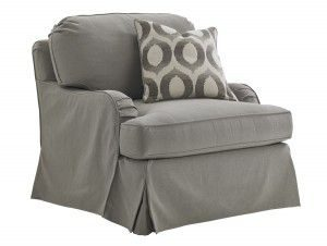 Hilton Head Furniture - John Kilmer Fine Interiors   Stowe Slipcover Swivel Chair Gray