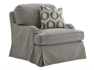 Hilton Head Furniture Store -  Stowe Slipcover Swivel Chair Gray