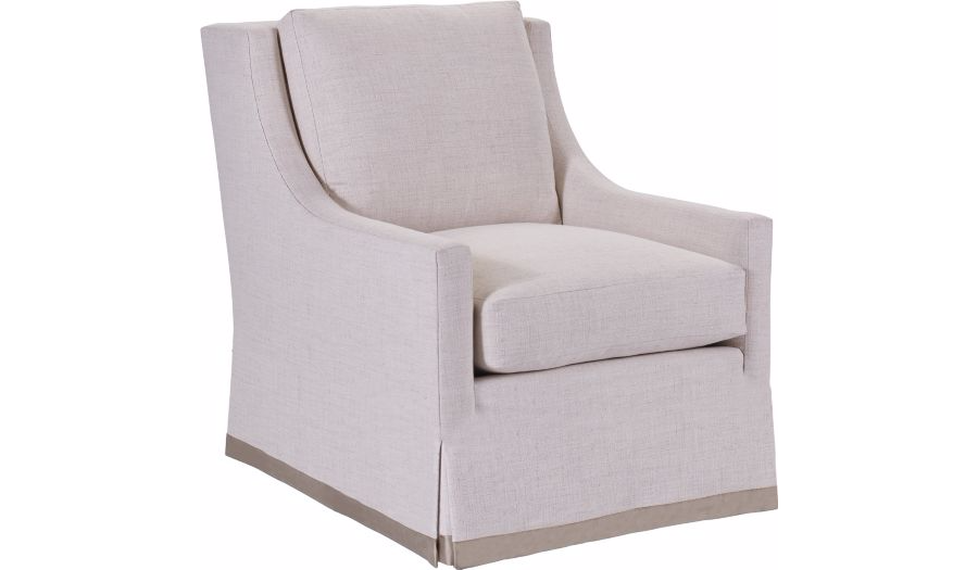 Chatham chair with dressmaker skirt john kilmer - Hilton furniture living room sets ...