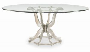 Hilton Head Furniture - Omni Metal Base Dining Table With Glass Top