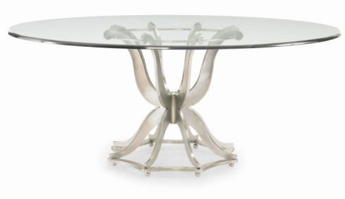 Hilton Head Furniture Store -  Metal Base Dining Table With Glass Top