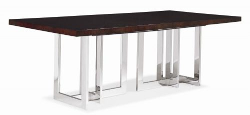 Hilton Head Furniture Store -  Satin Walnut Dining Table With Metal Base