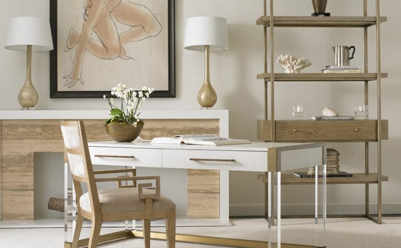 Hilton Head Furniture Store - Argon Acrylic Writing Desk  Hickory White